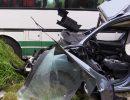 Смертельная авария с участием пассажирского автобуса и легковушки