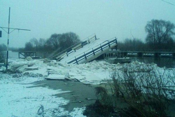 понтонный мост,река Клязьма,Вязники,Вязниковский район,Владимирская область,зимнее половодье,зимний разлив,