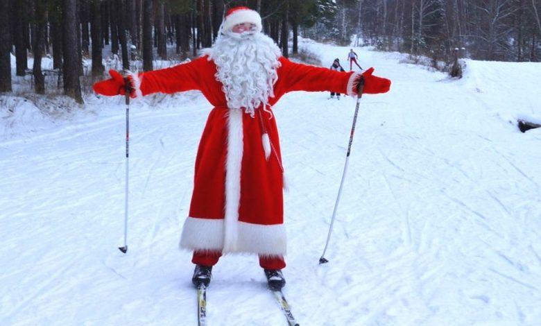 новогодняя лыжная гонка,дед Мороз на лыжах,