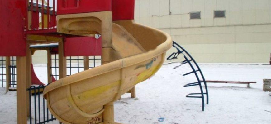 детская винтовая горка,детская горка зимой,винтовая горка на детской площадке,