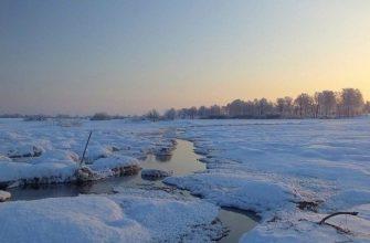природа зима, снег февраль ручей,